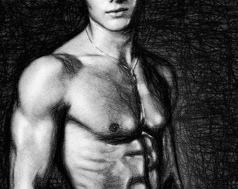 Stand by Me Gay Art Male Art Print by Michael Taggart Photography muscle muscles muscular strong abs torso black and white cute handsome
