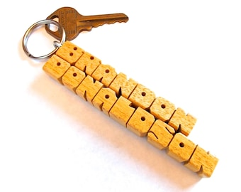 Pau Amarello Wood 2-Liner Name Keychain, Custom Carved to Order
