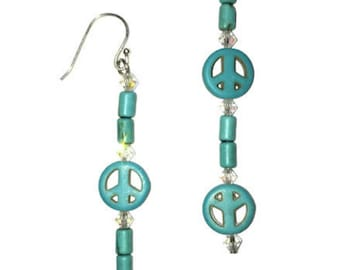 Profoundly Peaceful Earrings:925 Sterling silver, turquoise and Swarovski elements