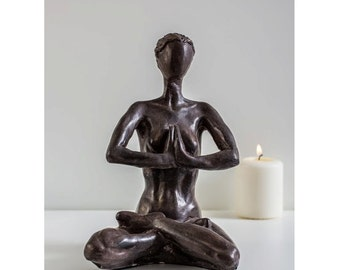 Yoga Sculpture - a woman sitting in the Dhyana position - self-Inquiry Meditation