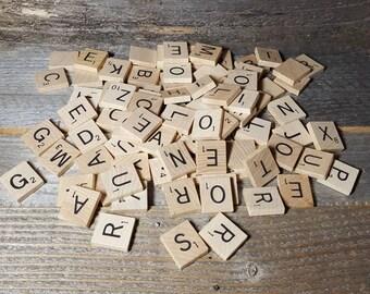 100 Scrabble tiles, lot of scrabble tiles from 1989 set