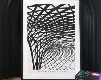 London King's Cross Black & White Illustrated poster print - Matte or Giclee Art Prints - London Prints - Gifts for Londoners