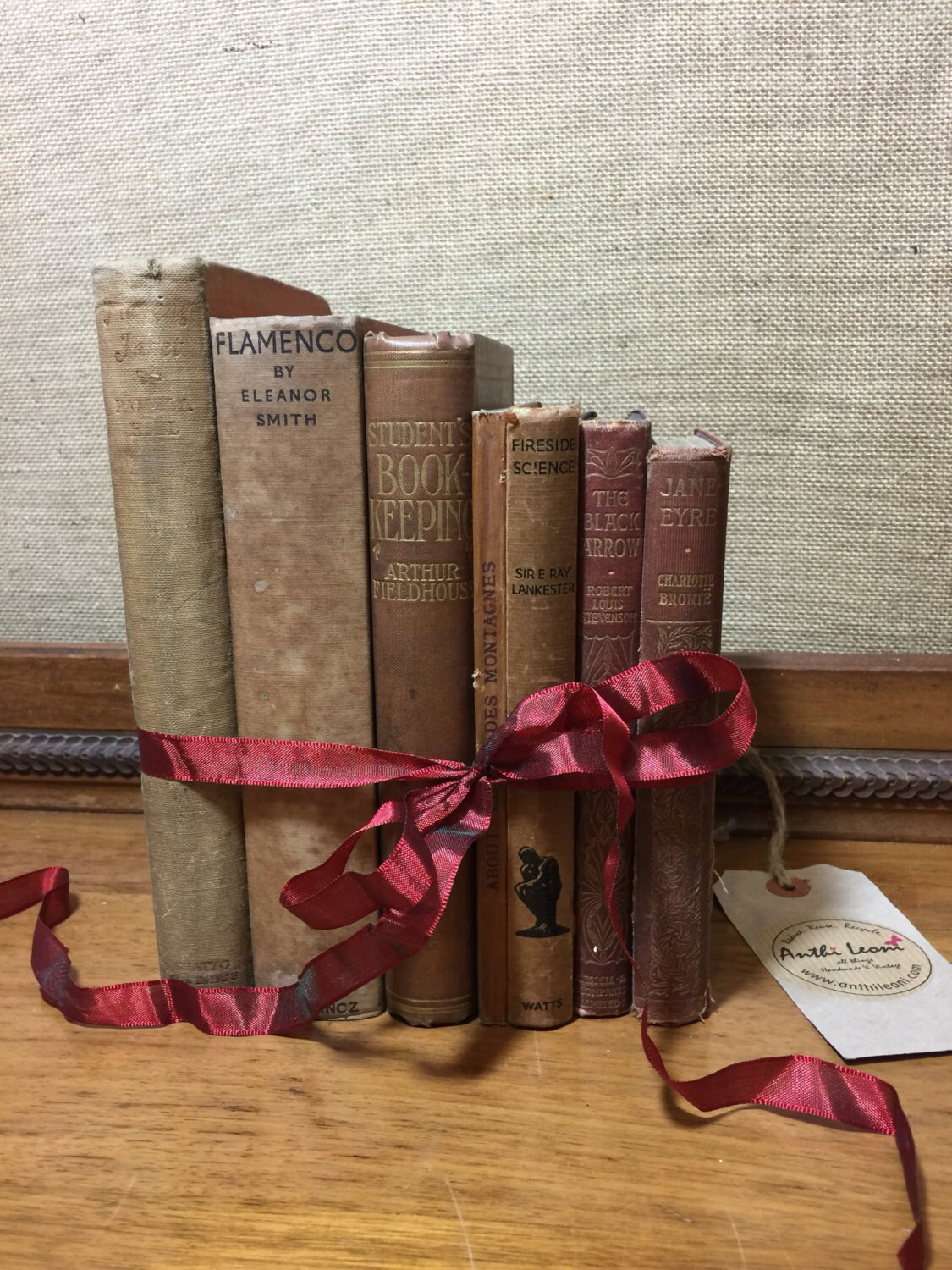 NATURAL BROWN TAN Vintage Book Collection | Old Books Decoration ...