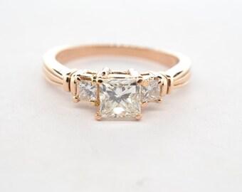 14K Rose Gold Princess Cut Three Stone Diamond Engagement Ring - Size 6.5