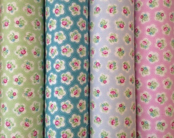 Spring Time Rose Flower Fabric - Green, Blue, Pink and Baby Blue Colour