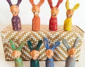 Ceramic figurine rabbits -- miniature easter bunnies -- tiny bunny rabbit ornament -- small pet art --made to order