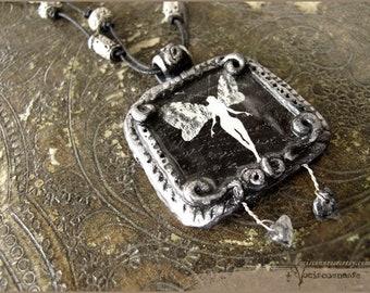 Dark faerie illustarted necklace - illustrated jewelry