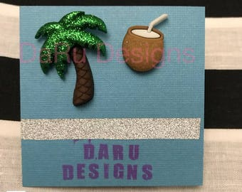 Palm tree and coconut earrings, tropical earrings, summer earrings, Caribbean earrings, beach earrings