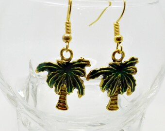 Palm Tree Earrings, Exotic Earrings, Palm Tree Jewellery, Fruity Earrings, Tropical Earrings, Summer Earrings, Kitsch Earrings, Gift For Her