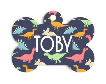 Dinosaur Dog Bone Tag for Dogs, Dinosaur Pet Id Tag, Collar Tag for Dogs, Name Tag for Pets, Dog Tag for Dogs, Large T-Rex Pet ID Tag