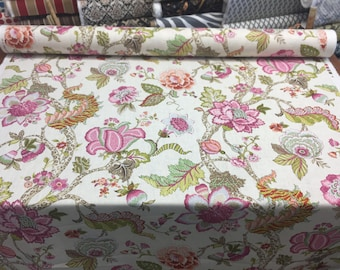 P Kaufmann Malawi Hibiscus Trees Fruits Flowers Linen Rayon Fabric By the yard Multipurpose
