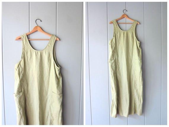 90s Minimal LINEN Dress Pale Green Minimal Dress Vintage Loose Fit Frock Natural Look Long Sun Dress Linen Maxi Dress Pockets Womens Large