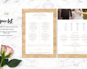 Photography Price List Template - 5x7 Pricing Guide - Photoshop Template - Marketing - Wedding Photography Price List - SKU PL005