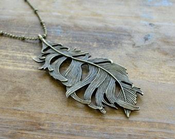 Large Feather Necklace, Vintage Style, Antique Bronze Indian Plumage Charm Pendant w/ Antique Bronze Chain (BC029)