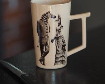 Tea Mug, Stoneware Mug, Vintage Cup, Zebra Cup, Porcelain Pottery Mug, Coffee Mug Pottery, Belle Epoque, Custom mug, Ceramic Drinkware