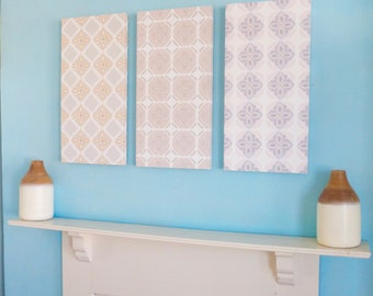 Grey, pale pink & beige tile design wall panels / canvas art trio / printed from hand painted patterns