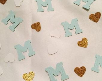 Custom Monogrammed Glitter Confetti w/ hearts or stars