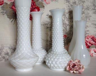 Vintage White Milk Glass Flower Vases, Wedding Decor, White Milk Glass Vases, Six Vases