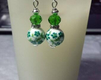 Porcelain and swarowski crystal earrings green (2)