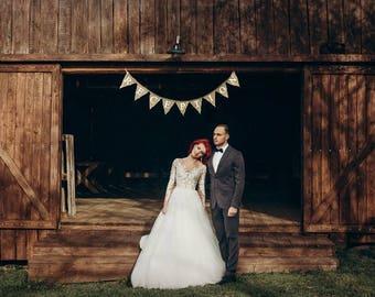Rustic Wedding Decor, Burlap Bunting Banner, Reception sign