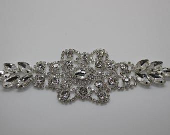 Sew on - Rhinestone Diamonte Silver Bridal - Crystal Applique Patch 65 -  Wedding Sew On Motif