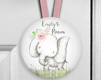Elephant nursery decor - girls bedroom decor - personalized door hangers - personalized baby shower gifts - HAN-PERS-8