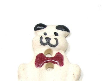 Dapper DOG Button, Handmade ceramic smiling dog with red bow tie.  Happy canine.