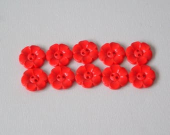 SALE Lot of 10 Flower Buttons - 1 Inch-  Red WAS 4.50 NOW 3.50