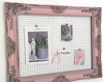 Pink Chicken Wire Frame, Jewelry Organizer