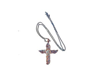 Vintage 80s Silver Cross and Chain Necklace