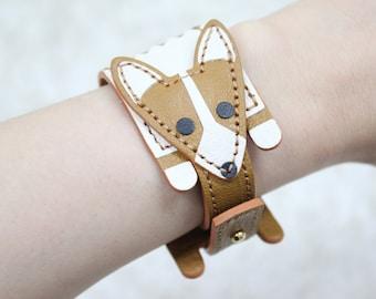 Cute Corgi shaped bracelet made of leather