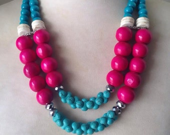 Turquoise Wooden Summer Statement Necklace - Linda Natalie Necklace