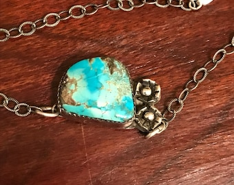Giant vintage sterling silver turquoise bracelet