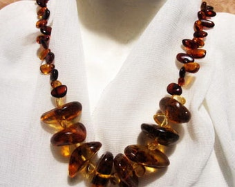 100% Natural #Baltic #Amber Real #Huge #Necklace, weight 72.0 gr, #green cognac #transparent inclusions raw stones polished beads for adult
