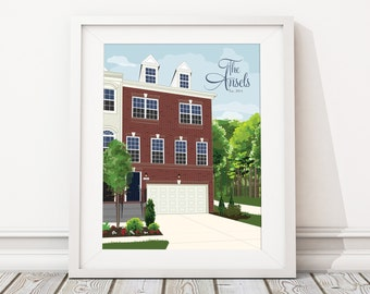 Home Portrait Illustration Custom Personalized Print Home Sweet Home Drawing Gift for Christmas, Paper Anniversary, Realtor Gift, Homeowners