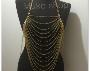 Gold body chain, body necklace, body jewelry model mk*60