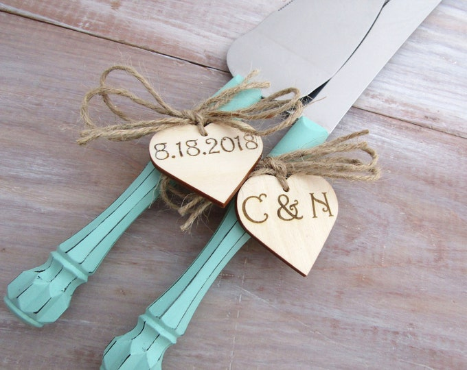 Rustic Chic Wedding Cake Server And Knife Set, Mint Green with Personalized Wood Hearts, Bridal Shower Gift, Wedding Gift