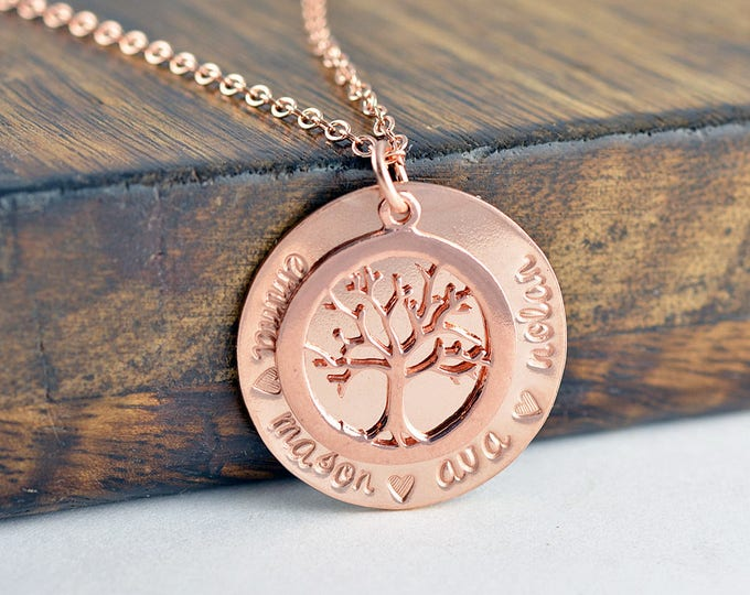 Rose Gold Family Tree Necklace, Mother's Necklace, Tree of Life Necklace, Gift for Grandma, Mothers Day Gift, Grandmother Necklace