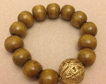 Vintage Olive Wooden Bead Bracelet