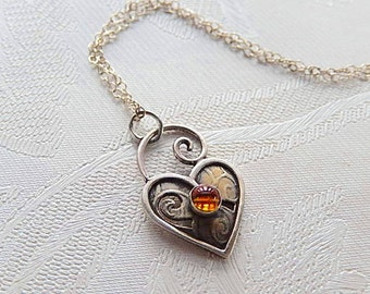 Heart Necklace, Vintage Sterling Pendant, Vintage Jewelry, Citrine Stone, November Birthday, Gift for Her