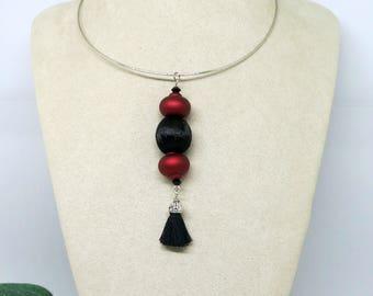 Burgundy Black Tassel Pendant , Boho Pendant, Beaded Pendant,Pendant Necklace ,Pink Pendant ,Handmade Jewellery ,Wearable Art ,Boho Necklace