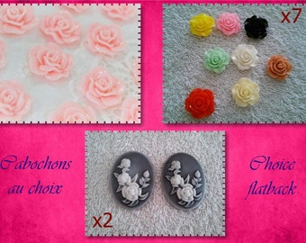 Set flower resin cabochon / flatback flowers