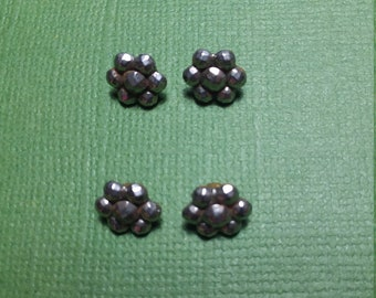 "Set of 4 Tiny Vintage  Steel Cut Buttons, Size 5/16"", Very Good Condition, Doll Clothes Buttons, Loop Shanks Intact,Nice Collectible"