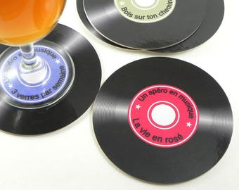 Set of 6 round coasters vinyl record 45 T a drink in a music set of 6 coaster round coaster set drink