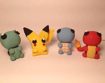 """2"""" Pokemon Clay Figures, nintendo, anime, chibi, charm, pokemon go, pikachu, kanto starters,"""
