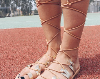 Gladiator Sandals, Gold Leather Sandals, Wedding Sandals, Gold Sandals, Ancient Sandals, Summer Shoes, Made from 100% Genuine Leather.