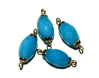 Light Blue Jade Beads, Faceted Oval Beads, Blue Beads, 14x9mm, 4 pcs