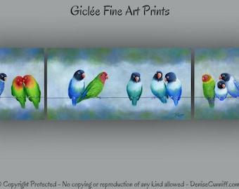 Lovebird wall art, Love birds artwork, Multi panel Bird art prints, Giclee Fine art, Teal blue green orange gray Home decor, Bird lover gift