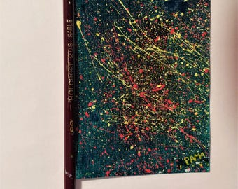 """Original ACEO abstract acrylic painting """"Meteorites"""" on mini canvas."""