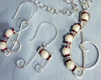 Music, Treble Clef, Necklace Earrings, Music Notes Jewelry, Treble Clef Jewelry